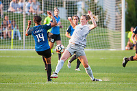 Kansas City, MO - Thursday August 10, 2017: Sydney Leroux, Samantha Mewis during a regular season National Women's Soccer League (NWSL) match between FC Kansas City and the North Carolina Courage at Children's Mercy Victory Field.