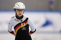 1st February 2019, Dresden, Saxony, Germany; World Short Track Speed Skating; 1000 meters women in the EnergieVerbund Arena. Anna Seidel from Germany waiting for the heat  start.