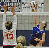 Grace Kullen #7 of Kellenberg, right, attempts to spike during the Nassau-Suffolk CHSAA varsity girls volleyball championship against Sacred Heart at St. Dominic High School in Oyster Bay on Tuesday, Nov. 7, 2017.