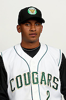 Angel Franco (2) of the Kane County Cougars at Elfstrom Stadium in Geneva, Illinois;  April 5, 2011. Photo By Chris Proctor/Four Seam Images.