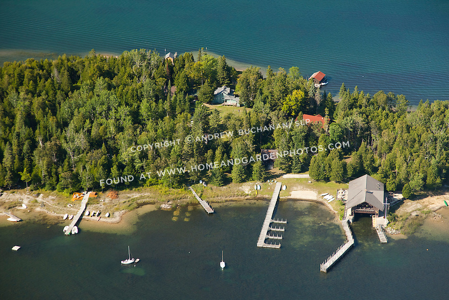 Les Cheneaux Yacht Club (LCYC) on Pleasant Point of Marquette Island in Les Cheneaux Area of Lake Huron near Cedarville, MI