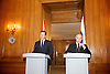 President of Russia <br /> Vladimir Putin <br /> visiting British Prime Minister David Cameron for a meeting pre-G8 at 10 Downing Street, London, Great Britain <br /> 16th June 2013 <br /> <br /> Vladimir Putin <br /> David Cameron <br /> Larry the cat <br /> <br /> Photograph by Elliott Franks