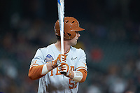 Zach Zubia (52) of the Texas Longhorns at bat against the LSU Tigers in game three of the 2020 Shriners Hospitals for Children College Classic at Minute Maid Park on February 28, 2020 in Houston, Texas. The Tigers defeated the Longhorns 4-3. (Brian Westerholt/Four Seam Images)