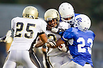 Culver City, CA 09/17/10 - Logan Okuda (Peninsula #25), Okuoma Idah (Peninsula #24) and Ky Dorsey (Culver City #23) in action during the Peninsula Panthers-Culver City Centaurs varsity football game at Culver City High School.