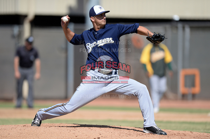 Milwaukee Brewers pitcher Martin Viramontes (77) during an Instructional League game against the Oakland Athletics on October 10, 2013 at Maryvale Baseball Park Training Complex in Phoenix, Arizona.  (Mike Janes/Four Seam Images)
