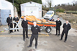 Dermot McConneron Officer in charge Drogheda Coast Guard unit  and Dept O.I.C. Andy O'Brian pictured with crew and the New D-Class boat that was delivered last week end from the Irish Coast Guard..Picture Fran Caffrey/Newsfile.ie.NO REPO FEE on usage