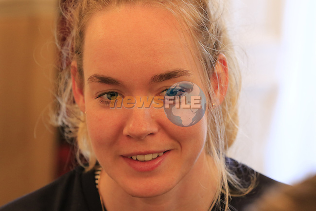 Anna Van Der Breggan (NED) at the Dutch Federation press conference during the Men U23 Road Race of the UCI World Championships 2019 running 186.9km from Doncaster to Harrogate, England. 27th September 2019.<br /> Picture: Eoin Clarke | Cyclefile<br /> <br /> All photos usage must carry mandatory copyright credit (© Cyclefile | Eoin Clarke)