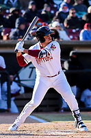 Wisconsin Timber Rattlers outfielder Jay Feliciano (37) swings at a pitch during a Midwest League game against the Beloit Snappers on April 7, 2018 at Fox Cities Stadium in Appleton, Wisconsin. Beloit defeated Wisconsin 10-1. (Brad Krause/Four Seam Images)