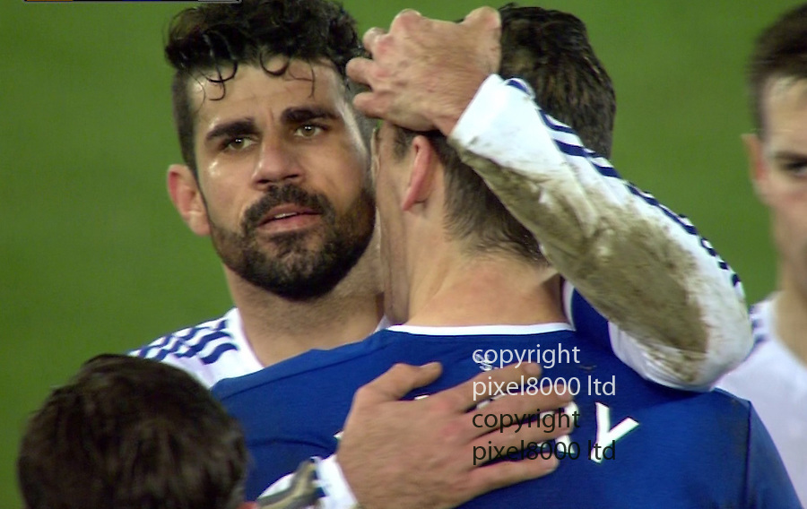 Pic shows: FA Cup Everton v Chelsea<br /> Red Card<br /> Diego Costa seems to both headbutt and possibly bite neck of Gareth Barry.<br /> <br /> <br /> <br /> Picture by Pixel8000 07917221968