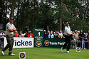WOBURN, ENGLAND - SEPTEMBER 02:  Mark James of England looks on as Peter Fowler of Australia drives from the 1st tee during the final round of the Travis Perkins plc Senior Masters played at the Duke's Course, Woburn Golf Club on September 2, 2012 in Woburn, United Kingdom.  (Photo by Phil Inglis/Getty Images) *** Local Caption *** Mark James; Peter Fowler