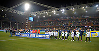 Both Teams at the National Anthems before the friendly match Italy against USA at the Stadium Luigi Ferraris at Genoa Italy on february the 29th, 2012.