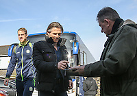 Wycombe Wanderers Manager Gareth Ainsworth signs an autograph as he arrives for the Sky Bet League 2 match between Grimsby Town and Wycombe Wanderers at Blundell Park, Cleethorpes, England on 4 March 2017. Photo by Andy Rowland / PRiME Media Images.