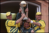 A jubilant Autralia show off their prize - Steve and Mark Waugh hold the trophy over Shane Warne...  1999 Cricket World Cup, Pakistan V Australia at Lords.... Pic Donald MacLeod