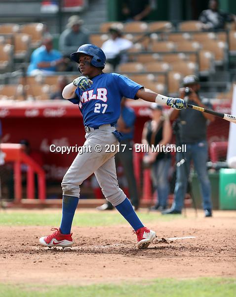 Misael Urbina participates in the MLB International Showcase at Estadio Quisqeya on February 22-23, 2017 in Santo Domingo, Dominican Republic.