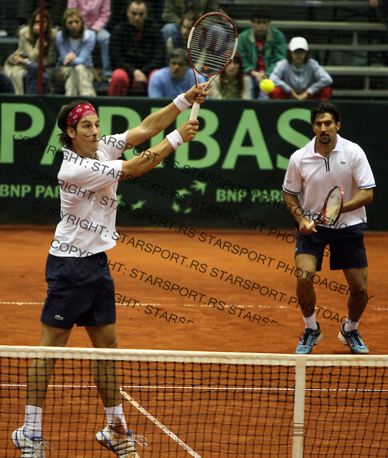 Sport tenis Davis cup dejvis kup Srbija Serbia Gruzija Nenad Zimonji? i Ilija Bozoljac Georgija Lado Chikhladze  George Khrikadze Ladu ?ikladze i Georga Krikadze 7.4.2007. photo: Pedja Milosavljevic