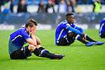 04.11.2018, Sch&uuml;coArena / Schueco Arena, Bielefeld, Deutschland, GER, 2. FBL, DSC Arminia Bielefeld vs. FC St. Pauli<br /> <br /> DFL REGULATIONS PROHIBIT ANY USE OF PHOTOGRAPHS AS IMAGE SEQUENCES AND/OR QUASI-VIDEO.<br /> <br /> im Bild Julian B&ouml;rner / Boerner (#13 Bielefeld) entt&auml;uscht / enttaeuscht / traurig nach Niederlage<br /> <br /> Foto &copy; nordphoto / Kurth