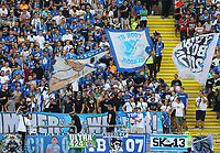 Fans der TSG 1899 Hoffenheim - 18.08.2019: Eintracht Frankfurt vs. TSG 1899 Hoffenheim, Commerzbank Arena, 1. Spieltag Saison 2019/20 DISCLAIMER: DFL regulations prohibit any use of photographs as image sequences and/or quasi-video.