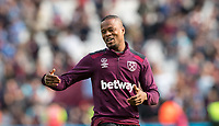 Patrice Evra of West Ham at full time during the Premier League match between West Ham United and Everton at the Olympic Park, London, England on 13 May 2018. Photo by Andy Rowland / PRiME Media Images.