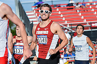 Tyler Stutzman, Marco Bertolotti, Cristian Soratos try to catch up with runners in front in 1500 meters quarterfinal during West Preliminary Track & Field Championships at John McDonnell Field in Fayetteville, AR, on May 31, 2014.