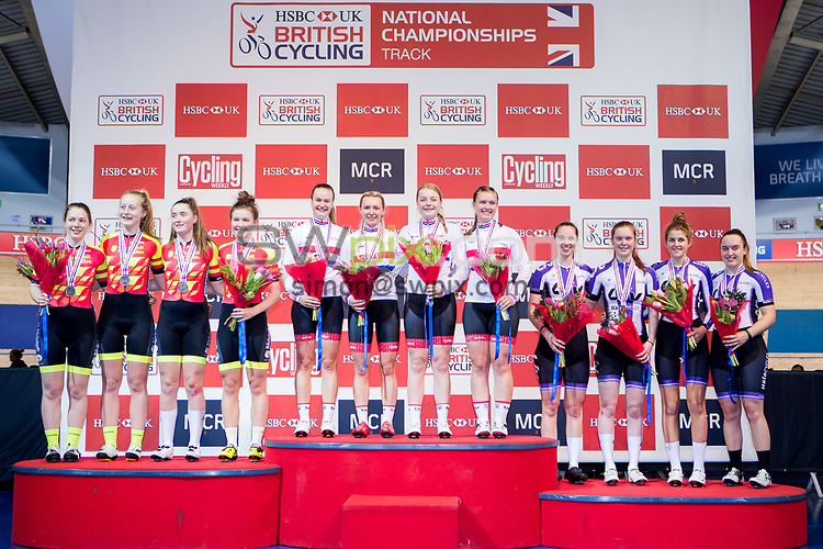 Picture by Alex Whitehead/SWpix.com - 27/01/2018 - Cycling - British Cycling National Track Championships - HSBC UK National Cycling Centre, Manchester, England - Team Breeze's Jess Roberts, Becky Raybould, Abbie Dentus and Jenny Holl win Gold in the Women's Team Pursuit final.<br /> Silver - Team Backstedt-Hotchillee, Bronze - Liv CC-Halo Cycles.