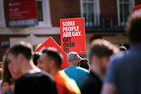 "A placard with the message ""Some People Are Gay, get Over It""  in this year's Pride Parade in the centre of Cardiff, Wales, UK. Sayurday 26 August 2017"