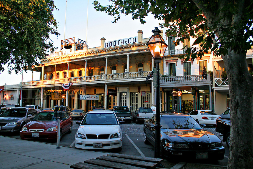 Dusk lighting historic buildings Old Sacramento California