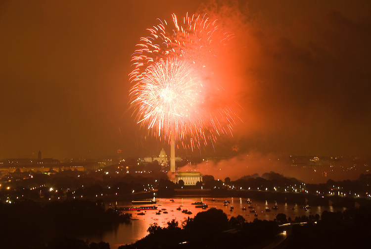 Washington DC; USA: July 4 Fireworks and icons, as seen from Arlington VA venue, Top of the Town.Photo copyright Lee Foster Photo # 16-washdc82919