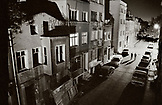 TURKEY, Istanbul, exterior of buildings near the Blue Mosque at night (B&W)