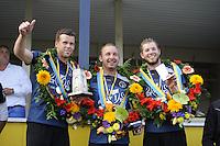 KAATSEN: LEEUWARDEN: 17-09-2016, Oldehovepartij, winnaars, Hylke Bruinsma, Johan van der Meulen (koning) en Dylan Drent, ©foto Martin de Jong