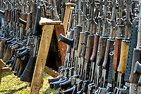 Automatic guns that belonged to the demobilized Colombian paramilitary forces (AUC) in a jungle settlement Casibare, Meta Department, Colombia, 10 April 2006.