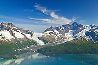 Aerial of Serpentine glacier and Mount Gilbert, Chugach mountains, Harriman Fjord, Prince William Sound, Alaska