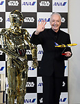 March 20, 2017, Tokyo, Japan - US movie Star Wars' C-3PO actor Anthony Daniels smiles with C-3PO robot as he attends a presentation of All Nippon Airways (ANA) C-3PO jetliner at a hanger of ANA at Tokyo's Haneda airport on Monday, March 20, 2017. C-3PO designed Boeing 777-200 jet will start domestic flight service from March 21.    (Photo by Yoshio Tsunoda/AFLO) LwX -ytd-