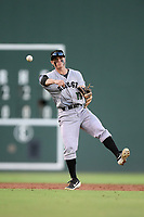 Second baseman Simon Whiteman (10) of the Augusta GreenJackets plays defense in a game against the Greenville Drive on Thursday, August 29, 2019, at Fluor Field at the West End in Greenville, South Carolina. (Tom Priddy/Four Seam Images)