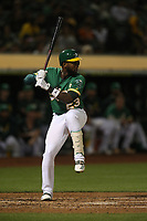OAKLAND, CA - SEPTEMBER 6:  Jurickson Profar #23 of the Oakland Athletics bats against the Detroit Tigers during the game at the Oakland Coliseum on Friday, September 6, 2019 in Oakland, California. (Photo by Brad Mangin)