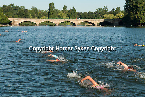 Serpentine Lake Hyde Park London UK Swimming race.