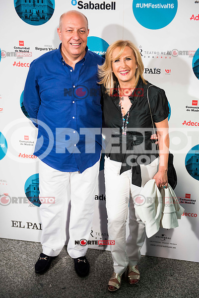 Nieves Herrero and her husband Guillermo Mercado attends to the photocall of the Rod Stewart concert at Teatro Real in Madrid. July 05. 2016. (ALTERPHOTOS/Borja B.Hojas)