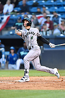 Augusta GreenJackets third baseman Jacob Gonzalez (18) swings at a pitch during a game against the Asheville Tourists at McCormick Field on April 4, 2019 in Asheville, North Carolina. The GreenJackets defeated the Tourists 9-5. (Tony Farlow/Four Seam Images)