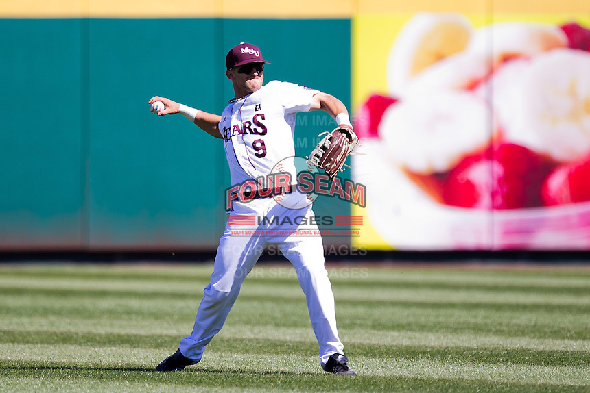 Spiker Helms (9) of the Missouri State Bears throws a ball back into the infield during a game against the Southern Illinois University- Edwardsville Cougars at  Hammons Field on March 10, 2012 in Springfield, Missouri. (David Welker / Four Seam Images)