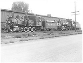 3/4 fireman's-side view of D&amp;RGW #340 and #456 beside the Montrose engine house.<br /> D&amp;RGW  Montrose, CO