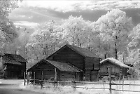 Old buildings in infrared at Folkemuseet (the Folk Museum) near Oslo, Norway.<br /> <br /> Nikon F3HP, 24mm lens, Kodak High-Speed Infrared film, red filter
