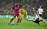 Raheem Sterling of Manchester City is challenged by Kieran Trippier of Tottenham Hotspur during the premier league match at the Wembley Stadium, London. Picture date 14th April 2018. Picture credit should read: Robin Parker/Sportimage