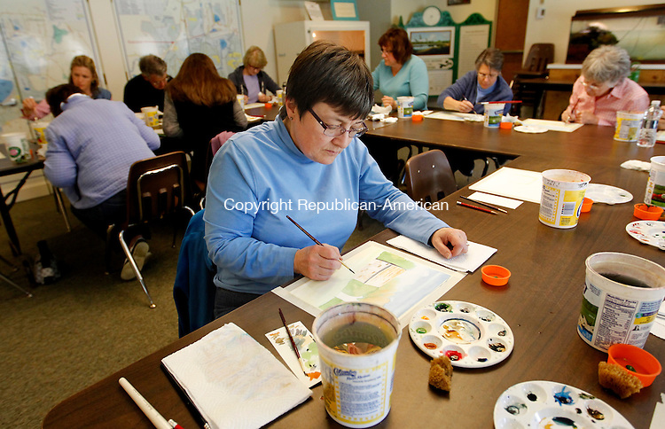 Litchfield, CT-29 April 2012-042912CM10-  Betsy Demeyer of Southbury works on a spring landscape painting during an art class taught by Betsy Rogers-Knox an art teacher from Bethlehem, at the White Memorial Conservation Center Sunday afternoon in Litchfield.      Christopher Massa Republican-American