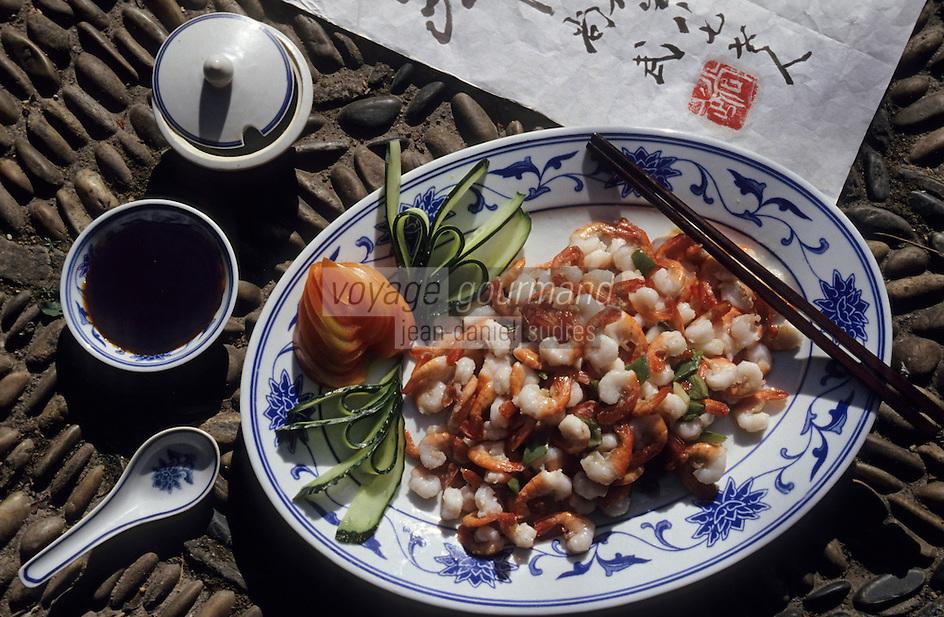 Asie/Chine/Jiangsu/Nankin: Savoureux sauté de crevettes<br /> PHOTO D'ARCHIVES // ARCHIVAL IMAGES<br /> CHINE 1990