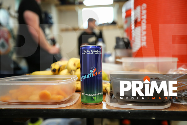 A Youth Energy drink helps prepare the London Broncos players for the Kingstone Press Championship match between London Broncos and Featherstone Rovers at Castle Bar , West Ealing , England  on 25 June 2017. Photo by David Horn.