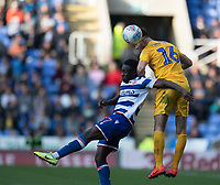 Preston North End's Andrew Hughes (right) battles with Reading's Andy Yiadom (left) <br /> <br /> Photographer David Horton/CameraSport<br /> <br /> The EFL Sky Bet Championship - Reading v Preston North End - Saturday 19th October 2019 - Madejski Stadium - Reading<br /> <br /> World Copyright © 2019 CameraSport. All rights reserved. 43 Linden Ave. Countesthorpe. Leicester. England. LE8 5PG - Tel: +44 (0) 116 277 4147 - admin@camerasport.com - www.camerasport.com