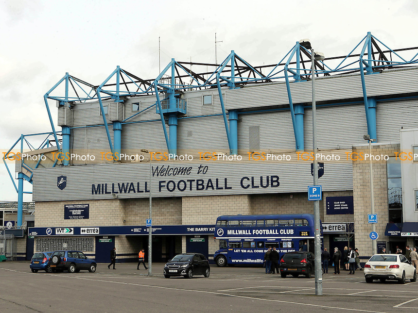 General view of the outside of 'The Den' and entrance to the Main Stand taken from the car park during Millwall vs MK Dons, Sky Bet EFL League 1 Football at The Den on 4th March 2017