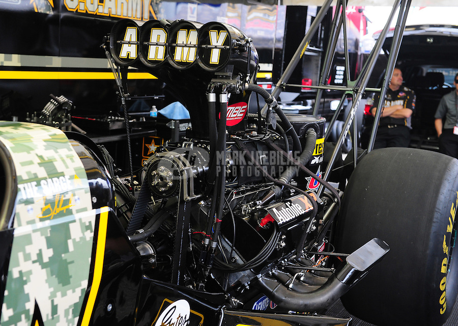 Apr. 29, 2012; Baytown, TX, USA: Detailed view of the engine on the car of NHRA top fuel dragster driver Tony Schumacher during the Spring Nationals at Royal Purple Raceway. Mandatory Credit: Mark J. Rebilas-