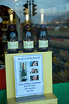 Royal Wedding Special champagne offer in shop window, St Peter Port, Guernsey, Channel Islands, UK, April 2011