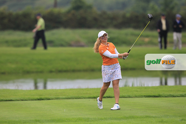 Bronte Law on the 14th tee during the Saturday Mourning Fourbsomes of the 2016 Curtis Cup at Dun Laoghaire Golf Club on Saturday 11th June 2016.<br /> Picture:  Golffile | Thos Caffrey