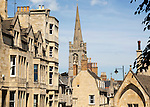 All Saints church spire and buildings in Stamford, Lincolnshire, England, UK